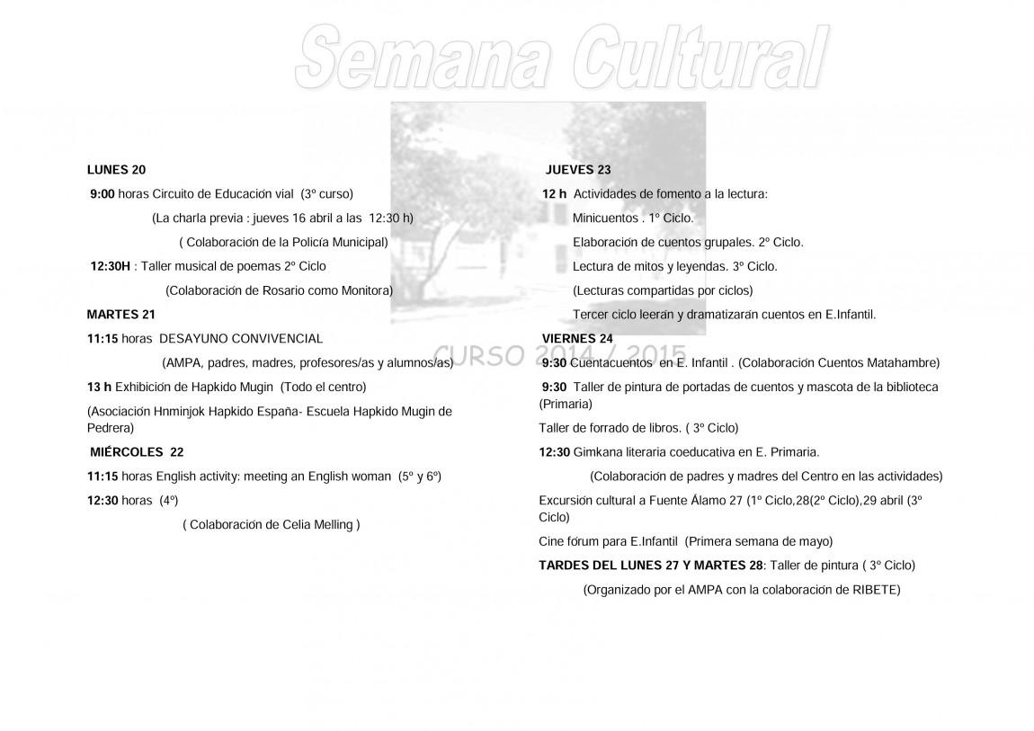 Semana Cultural 2014-2015